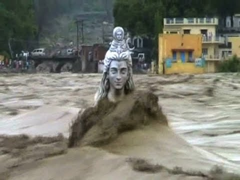 GIANT SHIVA STATUE IN RISHIKESH WASHED AWAY BY FLOODS - LIVE VIDEO