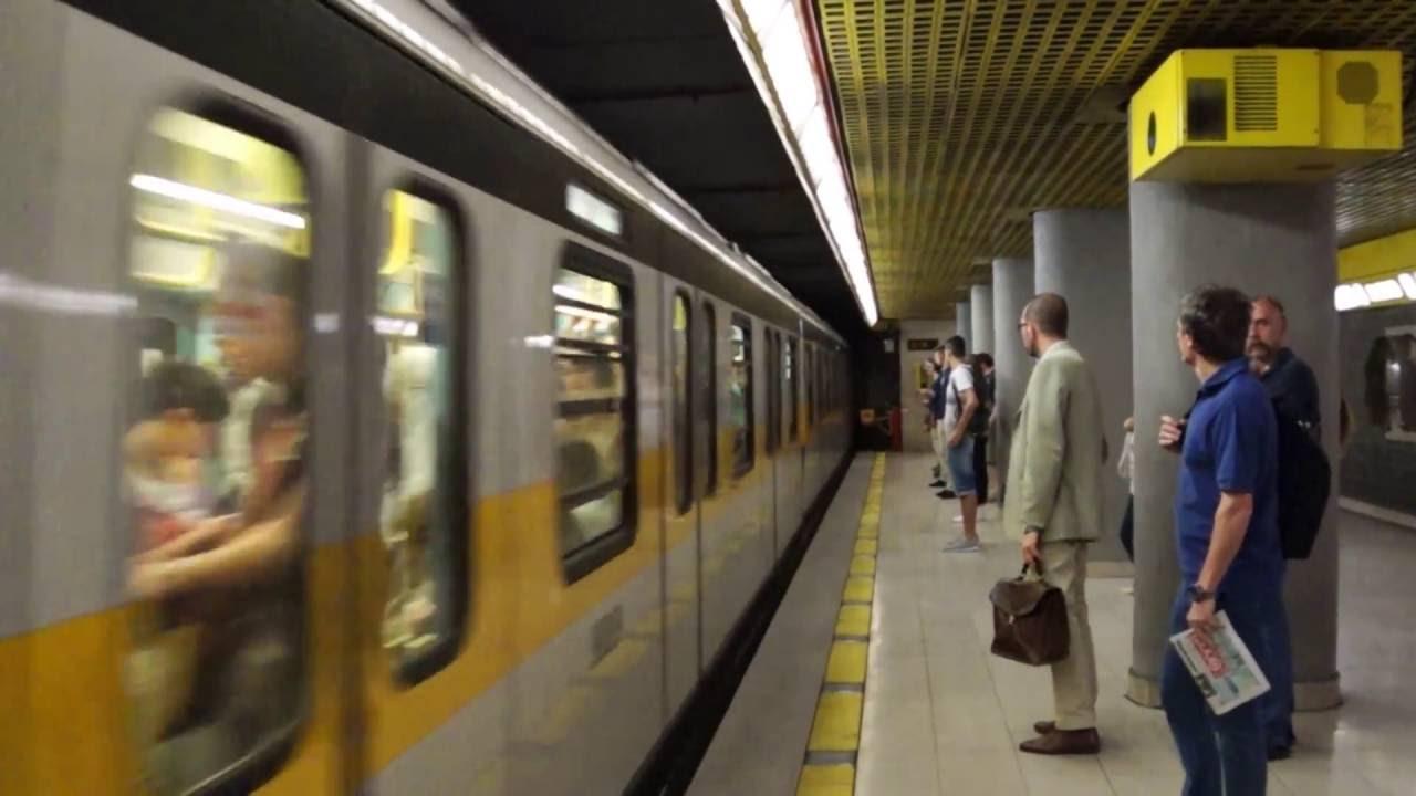 Milan Metro Line 3 train arriving at Duomo - YouTube