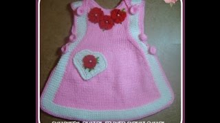 Вязаный сарафан для девочки.Часть 2. Knitted dress for girl