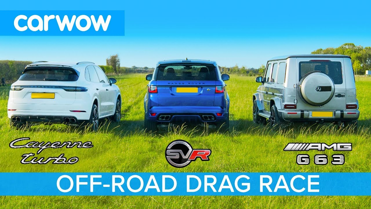 Mercedes-AMG G63 v Porsche Cayenne Turbo v Range Rover SVR: OFF-ROAD DRAG RACE & ON TRACK RACE