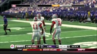 NCAA Football 14 gameplay: Ohio State vs. Northwestern (PS3)