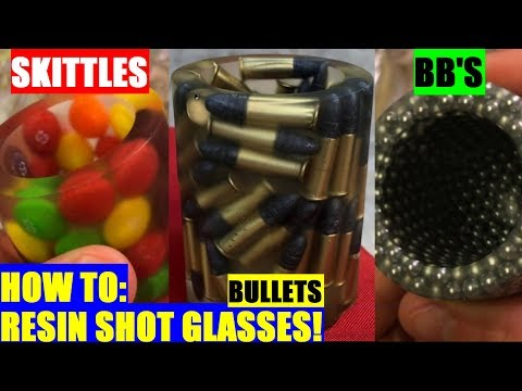 HOW TO Cast Bullet in Resin Epoxy SHOT GLASSES plus Skittles BB 4K