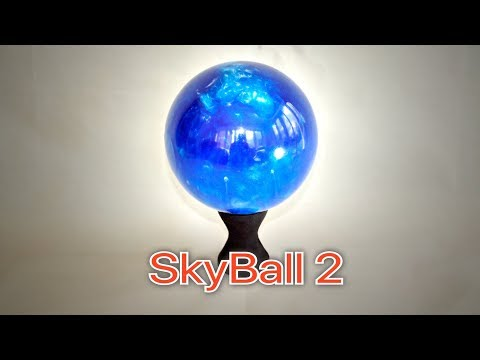 Woodturning - SkyBall 2 A Blue & Pearl Resin Sphere