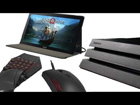 Professional PS4 Pro Setup? (Mouse & Keyboard + Portable Monitor) God of War Gameplay