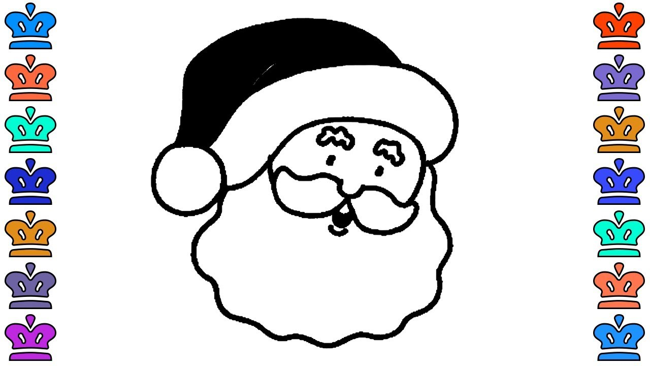 coloring pages for kids how to draw christmas santa head learning color for kids