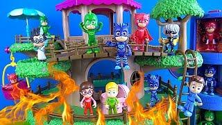 Pijamaskeliler ağaç evi yanıyor mu? Romeo yaktı Baykuş Kız Kertenkele ve Kedi Çocuk ateş söndürüyor