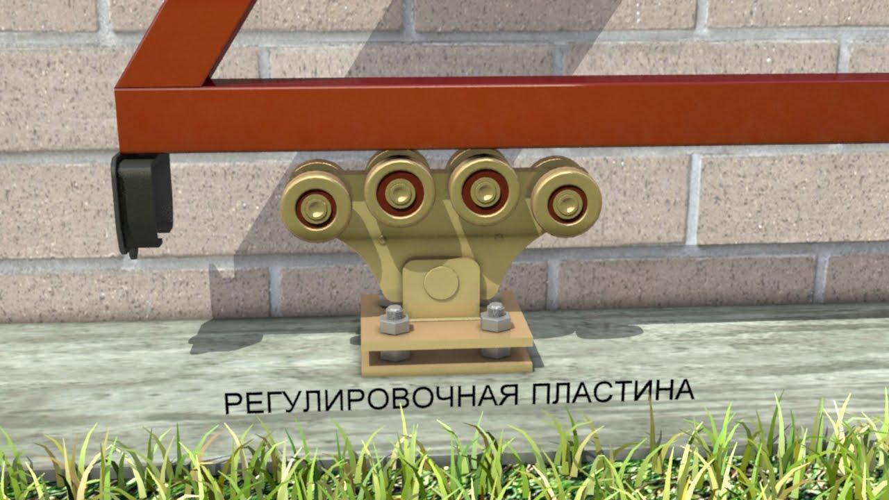 установка схема откатные ворота