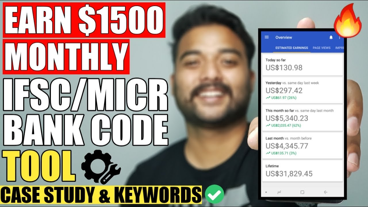 Earn $1500 Monthly   BANK IFSC MICR CODE WEBSITE 2020 (No Content-NO SEO) Simple Copy Paste Work