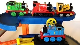 thomas and friends trains thomas percy james duncan on a play set by pleasecheckout