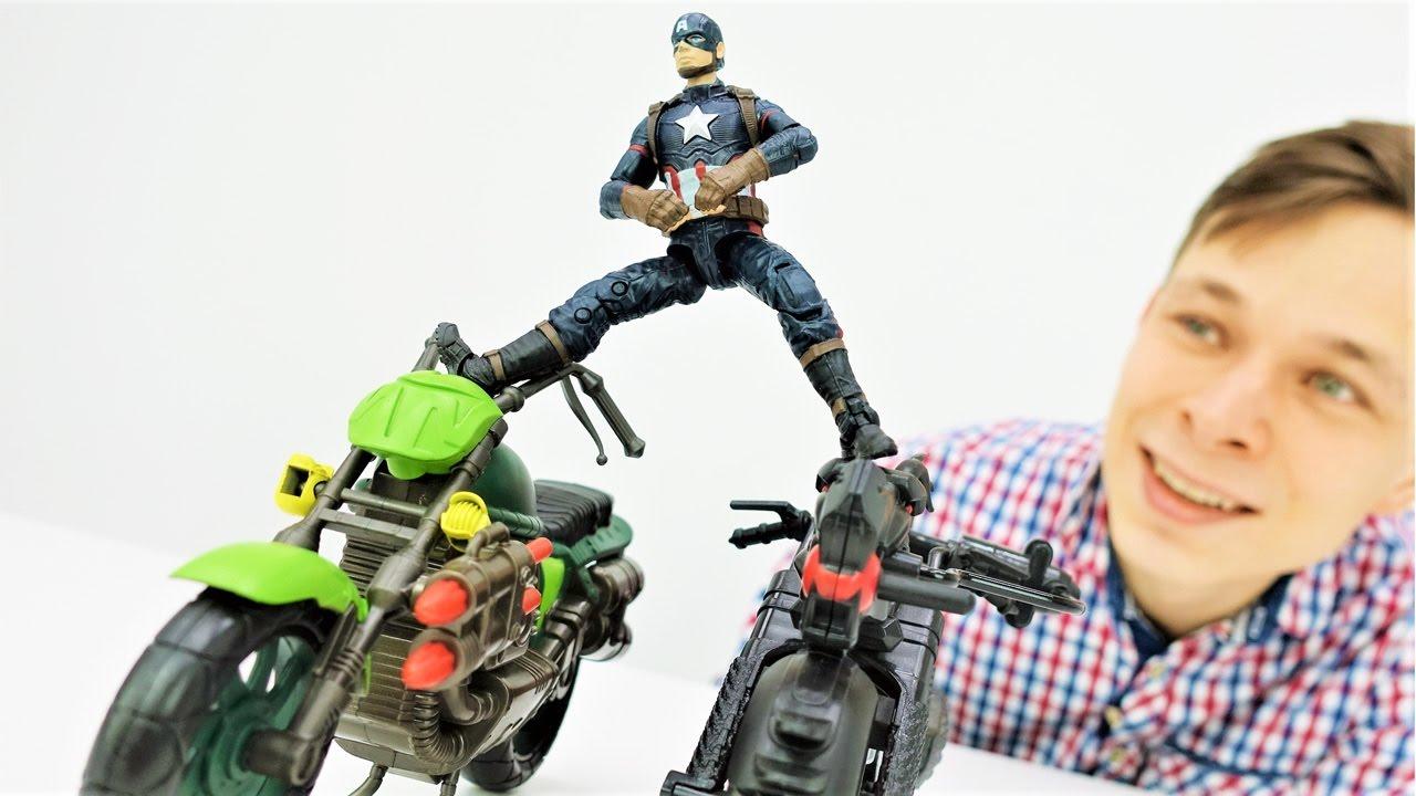 Капитан Америка нашёл работу! Супергерои: видео с игрушками!