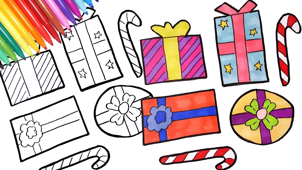 How to draw Christmas presents | Christmas gifts coloring pages ...