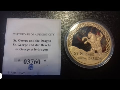 St George and the Dragon Commemorative Strike - Coloured 24 Carrot Gold Coin