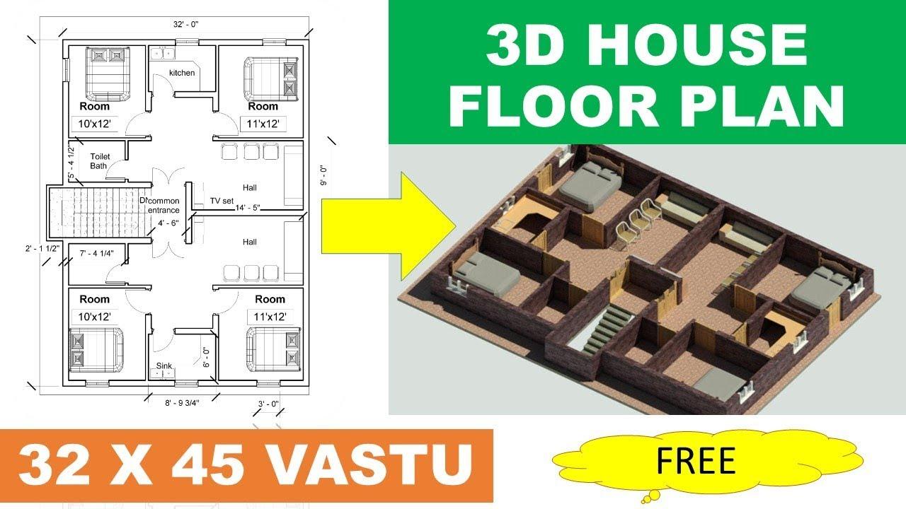 32 X 45 House Plan Double Flat Floor Plan Map Naksha India Youtube