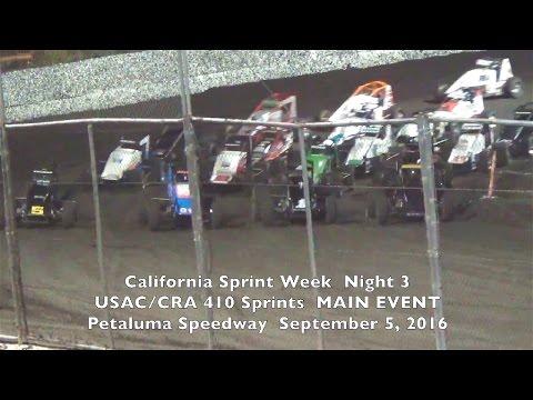 USAC/CRA 410 Sprints MAIN 9-5-16 Petaluma Speedway