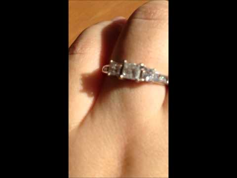 Zale's 1 CTW Princess Past Present Future Diamond Engagement Ring 14K White Gold Stunning!