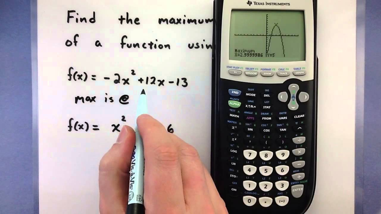Pre-Calculus - How to find the maximum or minimum of a function using a  calculator (Ti-83/84)