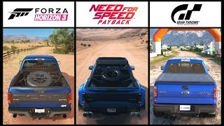 NFS PAYBACK vs GT SPORT vs FORZA HORIZON 3 - Ford Raptor F-150 RALLY BATTLE