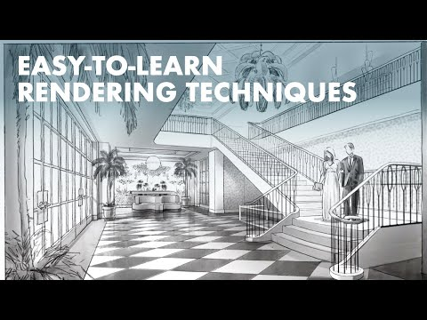 Rendering With Procreate: Hand Rendering 5 Boutique Hotel Interiors Over Rhino Wireframes