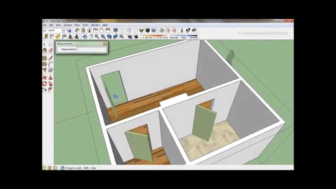 Sketchup How To Draw A 20 X 20 Bedroom 1 Of 2 Youtube