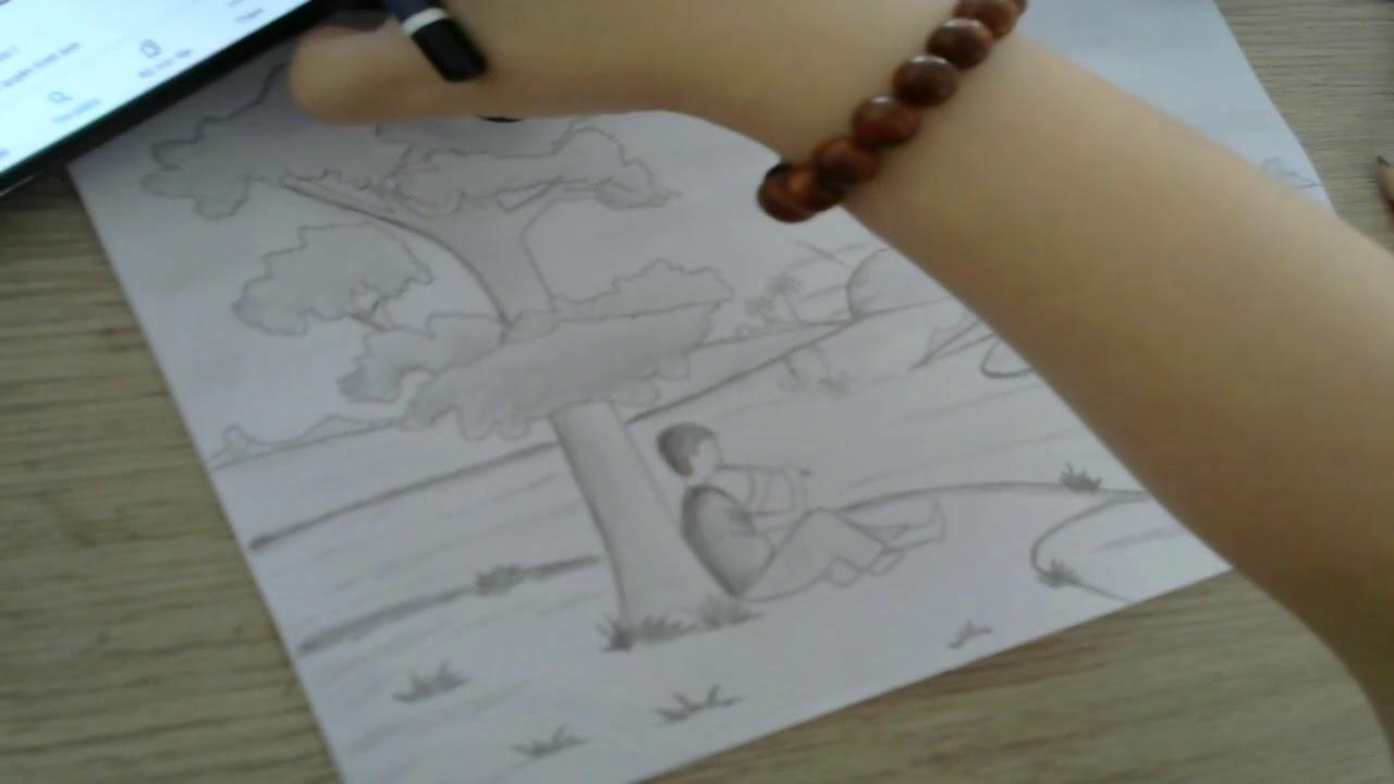 Vẽ tranh phong cảnh với bút chì cực đơn giản