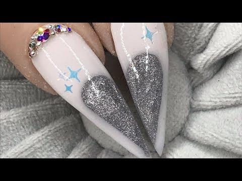Acrylic nails , silver colour block winter heart design