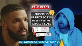 Shocking Results So Far As Eminem Goes H2H With Drake In Poll Finals, Fans Gather For DMX Vigil