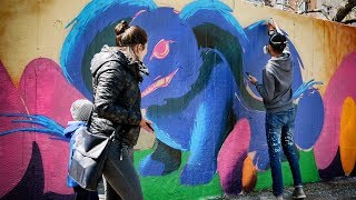 Shocking PUBLIC reaction - CRAZY Mural Painting!