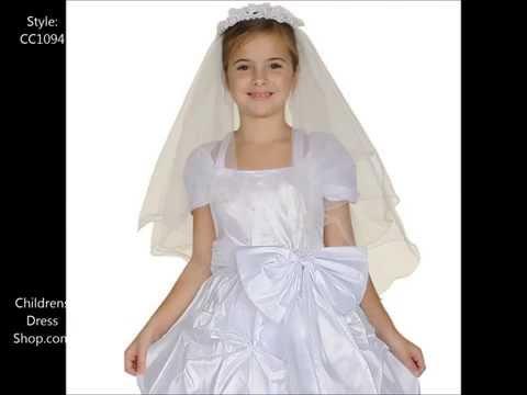 Style CC1094 : White Communion Gown - ChildrensDressShop.com