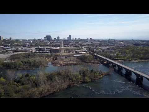 Raw Stock Footage - Columbia, SC Gervais Street Bridge Skyline 1 (4k)