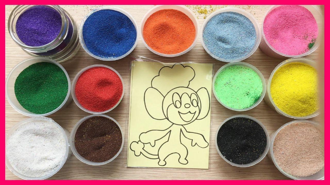 Đồ chơi TÔ TRANH CÁT HÌNH CHUỘT ĐẦU BẾP, bé học màu sắc – Colored Painting, Learn Color (Chim Xinh)