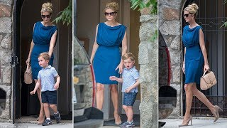 Ivanka looked elegant in a royal blue sheath dress as she stepped out of her home with Joseph in tow