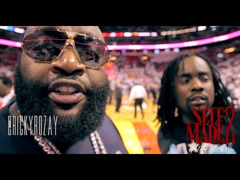 Rick Ross Courtside at Heat vs Knicks Game 5 of the NBA Playoffs ft. Wale & Kelly Rowland