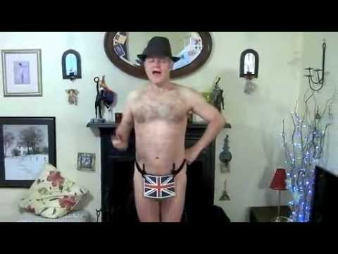Happy birthday greeting by posh gent in a thong