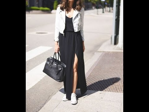 Casual long skirts and sneakers outfits
