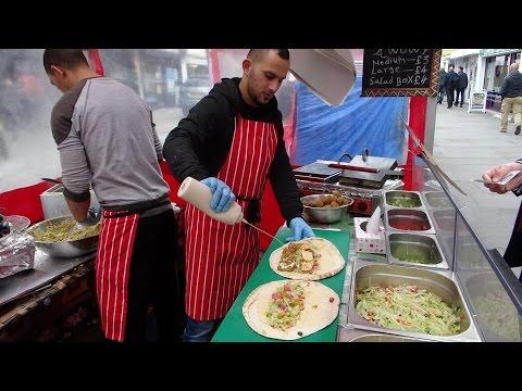 "Fast Falafel Wrap maker at ""Veg-as-You-Go"": Jordan Street Food Stall at Lower Marsh Market, London."