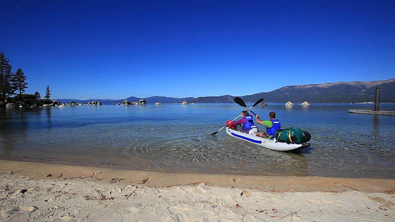 Sea Eagle FastTrack inflatable kayak paddling on Lake Tahoe