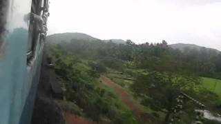 INDIAN RAILWAYS: 12619 Matsyagandha Express green landscape crossing Gangavali river, Konkan Railway