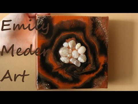 Resin Geode Painting, DIY Resin Art on Canvas! Black, Terra Cotta, and Copper