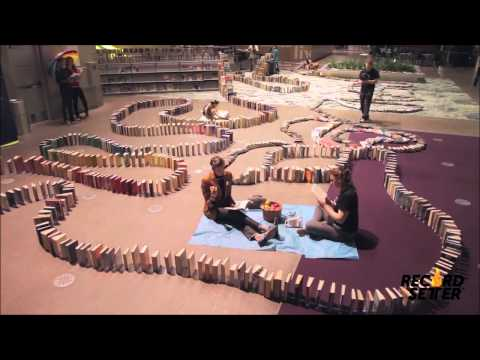 Book Domino Chain World Record (Seattle Public Library)