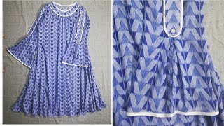 A-line kurti and Sleeves Cutting