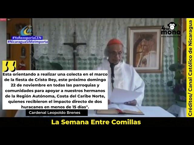 Cardenal Leopoldo Brenes insta a colaborar con los afectados por los huracanes Eta e Iota.