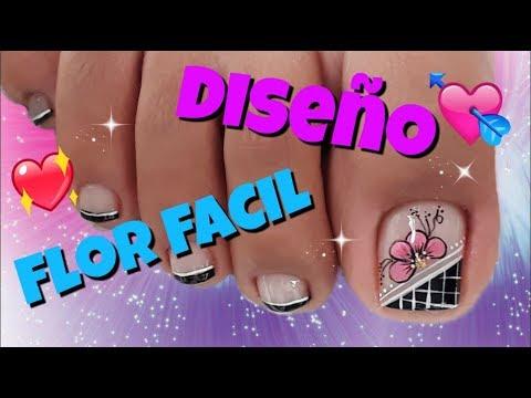 Diseno De Unas Pies De Flores Easy Flowers Toenail Youtube