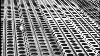 Workmen lay steel mats on the airstrip at Tempelhof Airbase in Berlin, Germany. HD Stock Footage