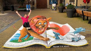 3D Street painting of a Lion by Rianne te Kaat
