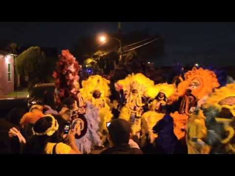 Mardi Gras Indians Singing Indian Red during the annual St. Joseph Night Celebration
