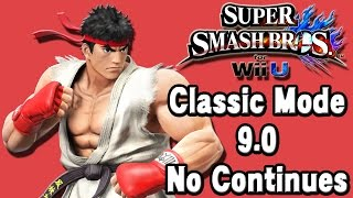 Super Smash Bros. For Wii U (Classic Mode 9.0 No Continues | Ryu) 60fps