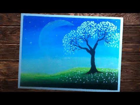 Menggambar Dan Mewarnai Pemandangan Langit Malam Youtube
