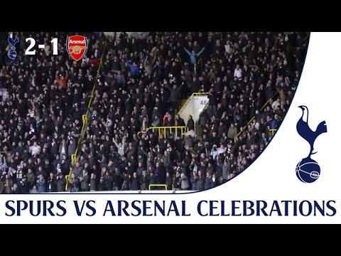 Spurs 2-1 Arsenal - Kane's winning goal crowd celebrations