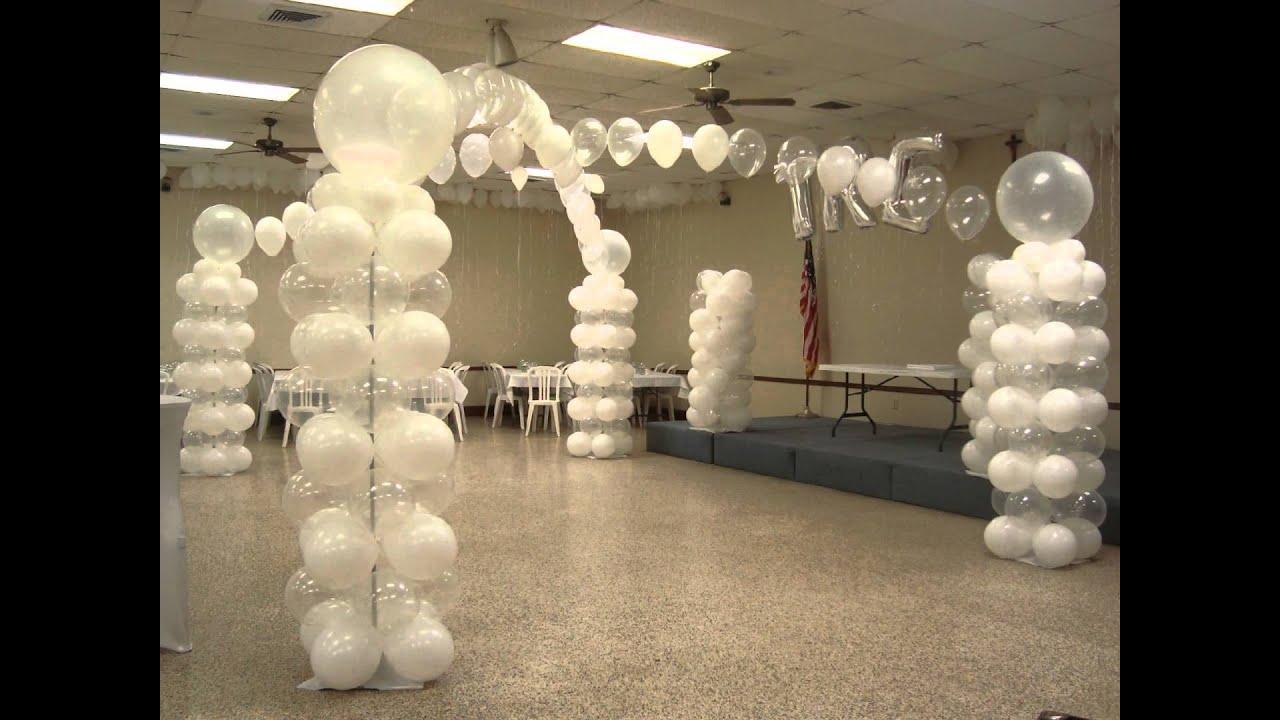 All white balloon decor youtube for Balloon decoration ideas youtube