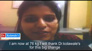 Shruti lost  22 kg ( in bold )  by Dr Kolawales  Weight loss Bangalore  (  in small  font )